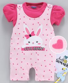 Mom's Love Dungaree Romper with Inner Tee Bunny Print - Pink