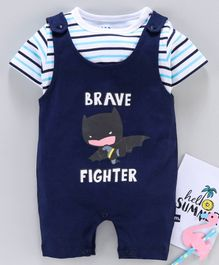 Mom's Love Dungaree Style Romper with Half Sleeves Inner Tee Batman Print - Navy White