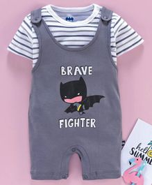 Mom's Love Dungaree Style Romper with Half Sleeves Inner Tee Batman Print - Grey White