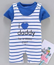Mom's Love Dungaree Style Romper with Half Sleeves Inner Tee Text Print - Blue White