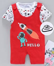 Mom's Love Dungaree Style Romper with Half Sleeves Inner Tee Rocket Print - Red White