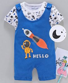 Mom's Love Dungaree Style Romper with Half Sleeves Inner Tee Rocket Print - Blue White