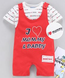 Mom's Love Dungaree Romper with  Inner Tee Text Print - Red White