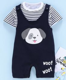 Mom's Love Dungaree Style Romper with Half Sleeves Inner Tee Puppy Print - Blue White