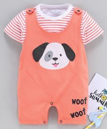 Mom's Love Dungaree Style Romper with Half Sleeves Inner Tee Puppy  Print - Orange White