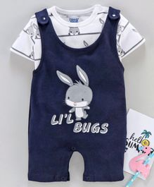Mom's Love Dungaree Style Romper with Short Sleeves Inner Tee Bunny Print - Navy White