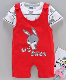 Mom's Love Dungaree Style Romper with Short Sleeves Inner Tee Bunny Print - Red White