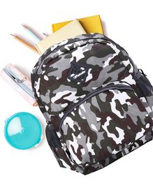 School Bag Camouflage Print Black Grey -13 Inches