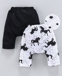 Earth Conscious Pack Of 2 Horse Printed Elasticated Diaper Pants  - White & Black