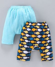 Earth Conscious Pack Of 2 Fish Printed Elasticated Diaper Pants - Blue