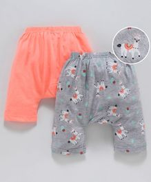 Earth Conscious Pack Of 2 Animals Printed Elasticated Diaper Pants - Peach & Grey