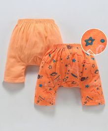 Earth Conscious Pack Of 2 Planets Printed Elasticated Diaper Pants - Peach & Orange