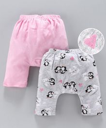 Earth Conscious Pack Of 2 Penguin Printed Elasticated Diaper Pants - Pink & Grey
