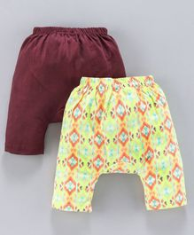 Earth Conscious Pack Of 2 Printed Elasticated Diaper Pants - Maroon & Green