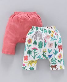 Earth Conscious Pack Of 2 Leaves Printed Elasticated Diaper Pants - Peach & Multicolor