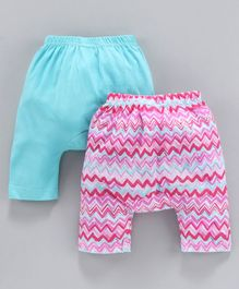 Earth Conscious Pack Of 2 Zig Zag Printed Elasticated Diaper Pants - Sky Blue & Pink