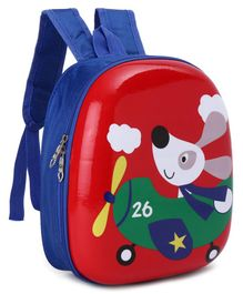 Hard Top School Bag Puppy Print Red - 11.8 inches