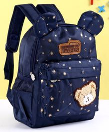 School Bag Bear Patch Navy Blue - 12.9 Inches
