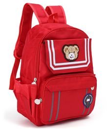School Bag Bear Patch Red - 14.5 Inches