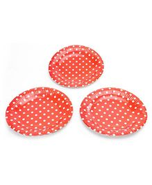 Karmallys Polka Dots Print Paper Plates Red - Pack of 10