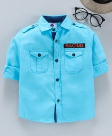 TONYBOY Full Sleeves Racing Patch Detailed Shirt - Light Blue