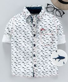 TONYBOY Printed Full Sleeves Fish Print Shirt - White