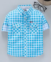 TONYBOY Roll Up Full Sleeves Checkered Shirt - Blue