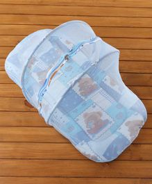 Babyhug Teddy Print Jumbo Bedding Set with Mosquito Net Zipper -  Blue