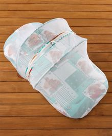 Babyhug Teddy Print Baby Bedding Set With Mosquito Net -  Green