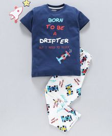Doreme Half Sleeves Night Suit Aeroplane Print - Navy Blue White