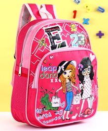 School Bag Girl Print Pink - 13.58 Inches