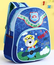 School Bag Teddy Bear Print Blue - 13.38 Inches