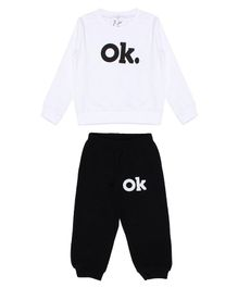 Knotty Kids Ok Printed Full Sleeves Sweatshirt With Full Length Pants - White