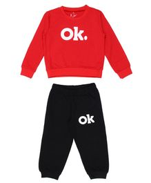 Knotty Kids Ok Printed Full Sleeves Sweatshirt With Full Length Pants - Red