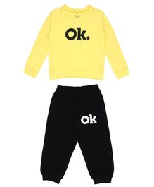 Knotty Kids Ok Printed Full Sleeves Sweatshirt With Full Length Pants - Yellow