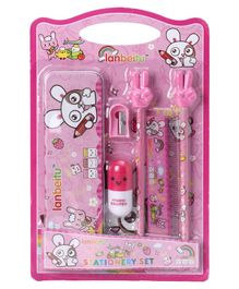 Stationery Set Bunny Print Pink Pack of 1 - 6 Pieces