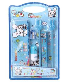 Stationery Set Bunny Print Blue Pack of 1 - 6 Pieces