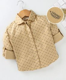 Adams Kids Feathers Printed Full Sleeves Shirt - Beige