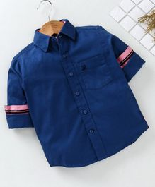 Adams Kids Solid Front Pocket Full Sleeves Shirt  - Blue