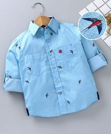 Adams Kids Birds Printed Full Sleeves Shirt - Blue