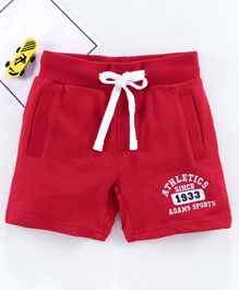 Adams Kids Solid Mid-Rise Regular Shorts - Red