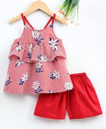M'andy Floral Print Sleeveless Frilled Top With Shorts - Red