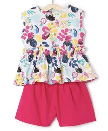 M'andy Flower & Fruits Printed Sleeveless Top With Shorts - Pink & White