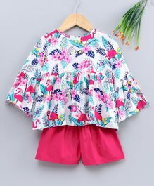 M'andy Full Sleeves Flamingo & Flower Printed Top & Shorts Set - Pink & White