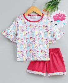M'andy Half Sleeves Flower Printed Top With Shorts - White & Red
