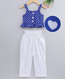 M'andy Heart Printed Sleeveless Peplum Top With Pants - Blue