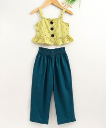 M'andy Heart Printed Sleeveless Peplum Top With Pants - Blue & Yellow