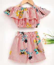 M'andy Striped & Flower Printed Ruffled Cold Shoulder Half Sleeves Top & Shorts - White & Red