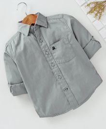 Adams Kids Solid Front Pocket Full Sleeves Shirt  - Grey