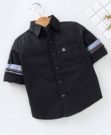 Adams Kids Solid Front Pocket Full Sleeves Shirt  - Black